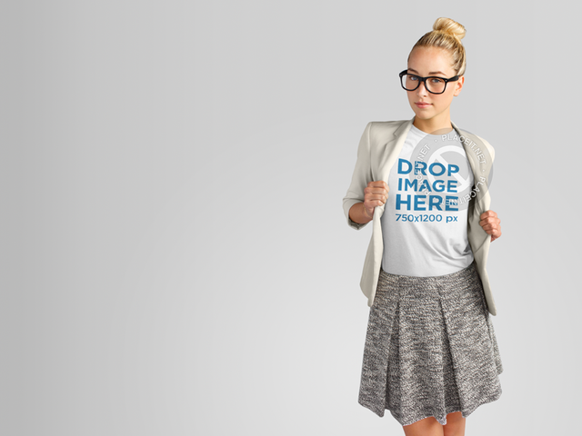 T-Shirt Mockup Template of a Pretty Girl in a Business Outfit 11142