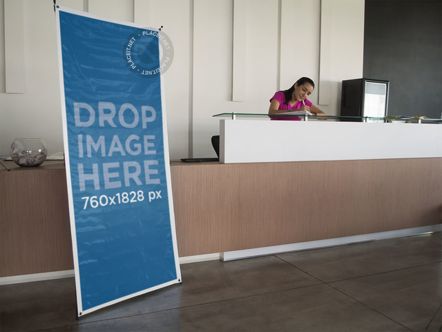 Vertical Banner Mockup at a Lobby a10492