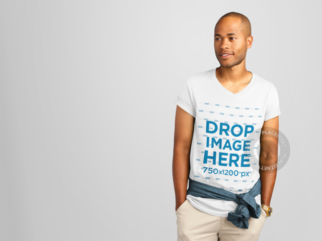 Young Black Man with Casual Pose Wearing a T-Shirt Mockup a11162