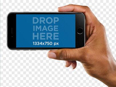 Black iPhone Mockup of a Black Man Holding in Landscape Position a11023