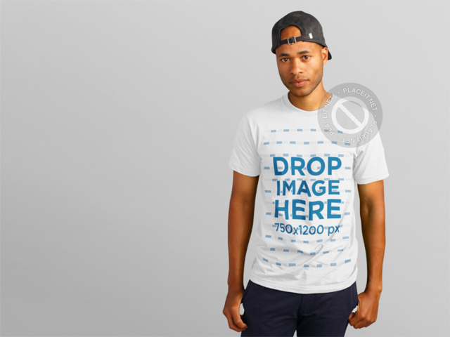 T-Shirt Mockup of a Young Black Man in a Summer Outfit a11153