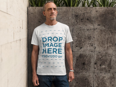 Elder Man Standing in an Urban Space T-Shirt Mockup a10984