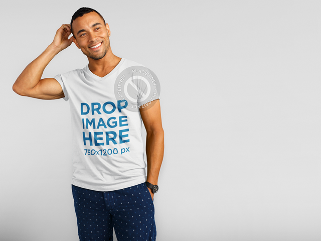 Young Black Man Wearing a V-Neck T-Shirt Over a White Background Mockup aa11161