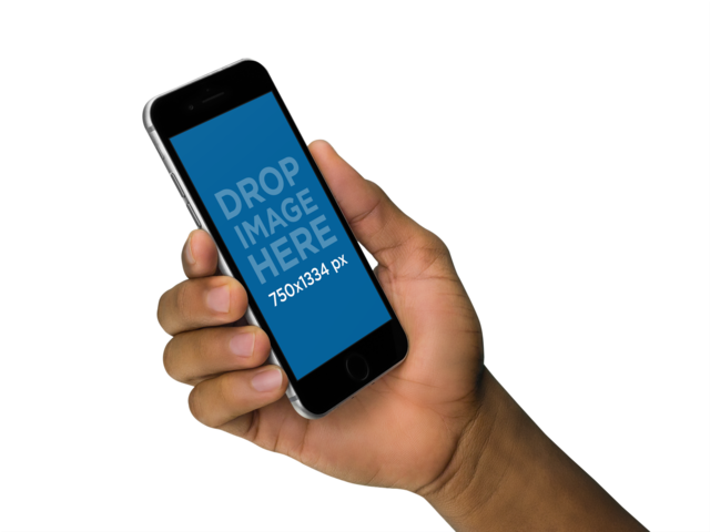 Mockup Of a Black Man Holding an iPhone 6 in an Angled Position a11066