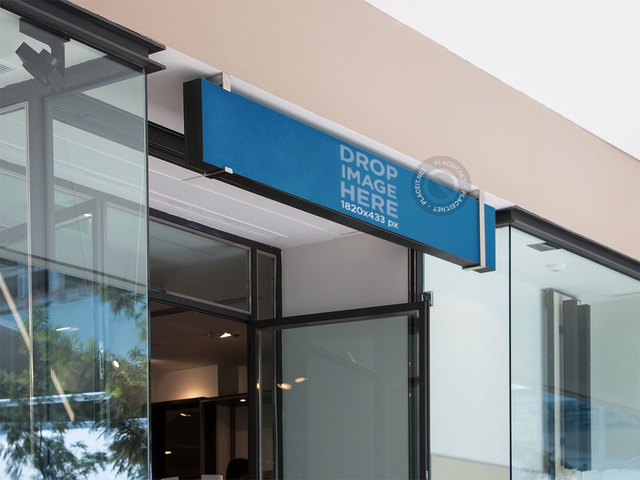 Horizontal Banner Mockup Over a Store Entrance a10975