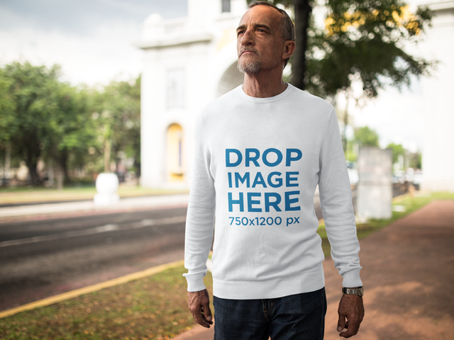 Long Sleeve Tee Mockup of White Elder Man Standing Outdoors a10987
