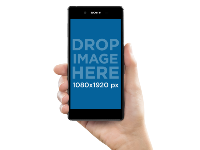 Sony Xperia Z5 Held by a White Woman Mockup a10767