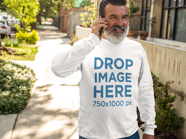Elder Man Wearing a Long Sleeve T-Shirt in Urban Space Mockup a11304