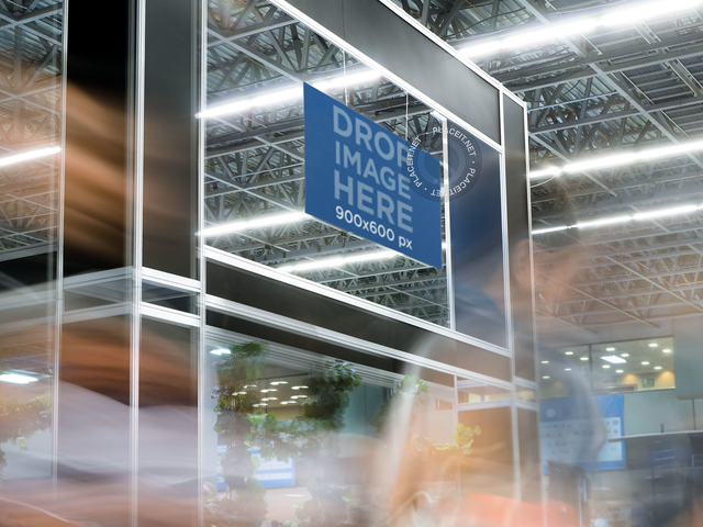 Mockup of a Horizontal Banner at a Busy Expo a11277