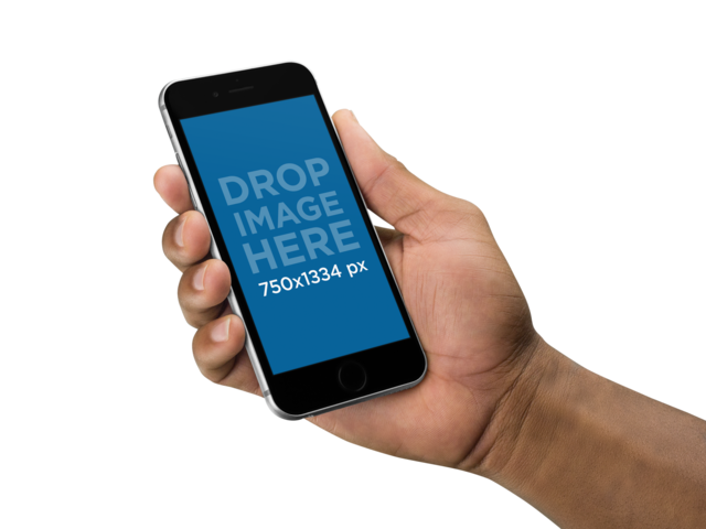 Man Holding an iPhone 6s Over a Transparent Background Mockup a11084