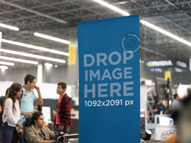 Close-Up of a Vertical Banner Mockup at an Expo a11280