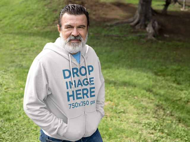 Hoodie Mockup Template of a Senior Man Outdoors a11315