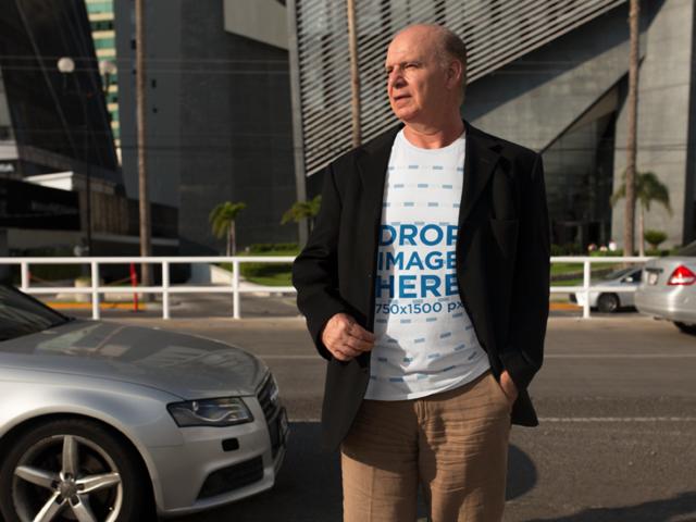T-Shirt Mockup of an Elder White Business Man a11124