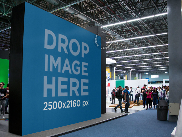 Giant Horizontal Banner Mockup Inside a Convention a11251