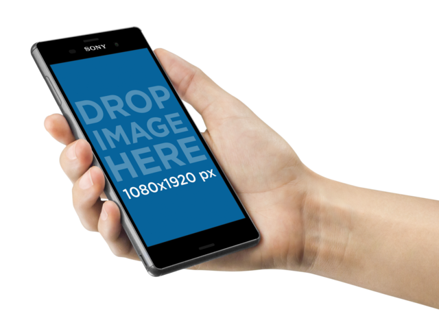 Woman Holding a Sony Xperia Z5 Over a Transparent Background Mockup a10888