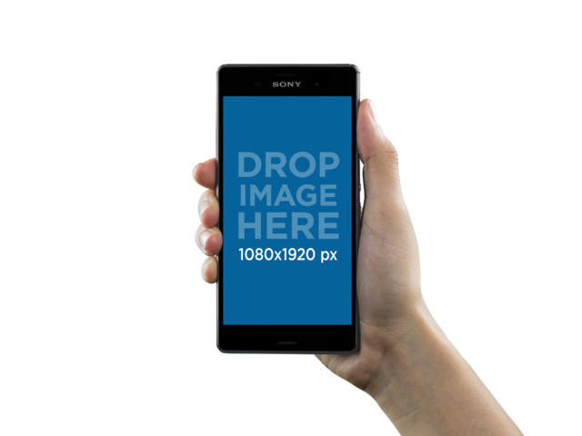 Mockup of a Sony Xperia Z5 Held Over a Transparent Background a10897