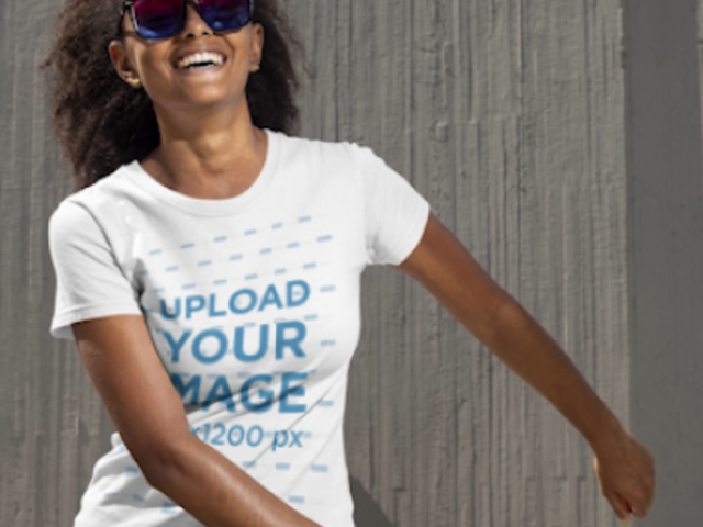 Stop Motion T-Shirt Video of a Woman Doing a Funny Dance 22838