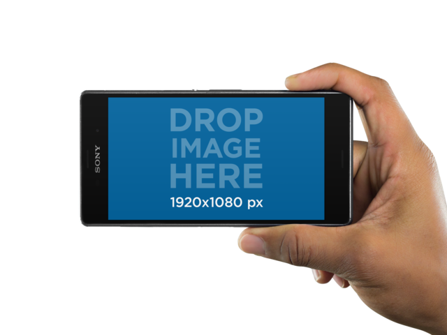 Android Phone Mockup Held Sideways Over a Transparent Background a11020