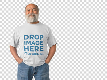 T-Shirt Mockup of a Smiling Hispanic Elder Man in a Studio a11111