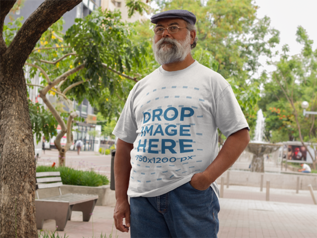 T-Shirt Mockup of a Hispanic Elder Man at a Promenade a11090