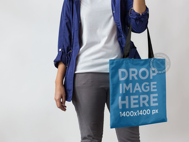 Tote Bag Mockup Being Carried by a Woman a11433