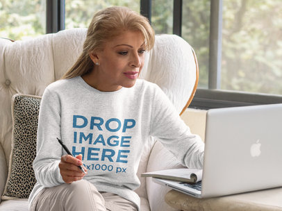 Middle-Aged Hispanic Woman Wearing a Crewneck Mockup a11372a