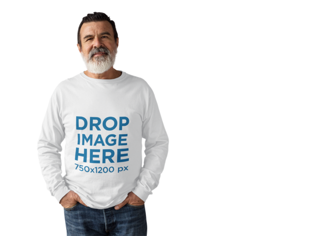 Long Sleeve Tee Mockup of a Hispanic Elder Man at a Studio a11310