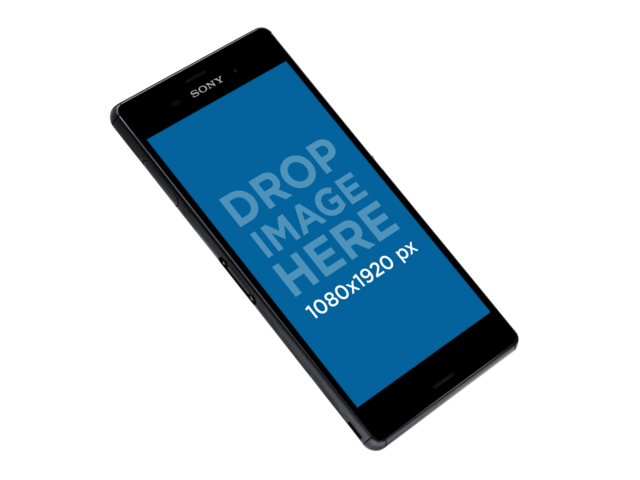 Floating Sony Xperia Z5 Mockup Over a PNG Background a11339