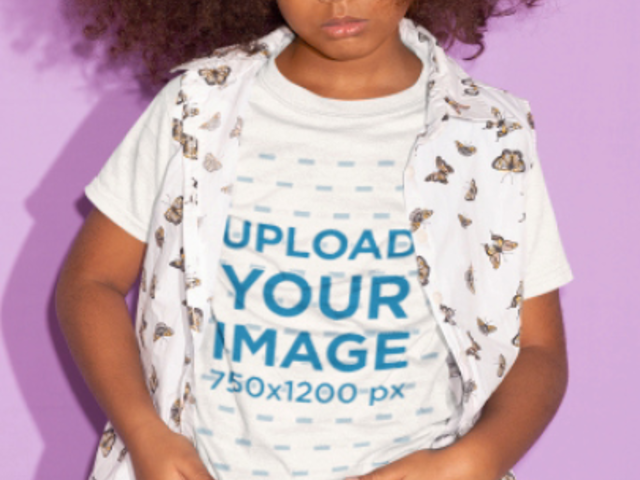Stop Motion Video of a Little Girl with Great Curly Hair Wearing a T-Shirt 23075