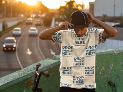 Sublimated T-Shirt Mockup of a Guy With His Bike a8944