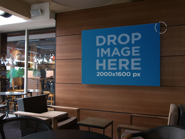 Placeit Horizontal Banner Mockup On A Coffee Shop Wall