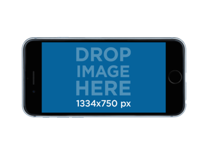 Mockup of an iPhone 6 in Horizontal Position Over a Transparent Background a11464