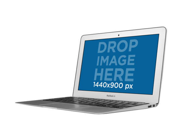 Angled Macbook Air Mockup Over a PNG Background