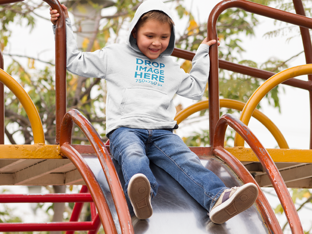 Kid's Hoodie Mockup of a Boy at a Park a9104