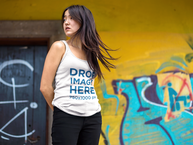 Tank Top Mockup Featuring a Pretty Asian Girl Near Urban Art a9540a