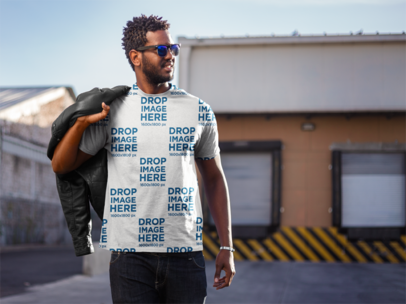 T-Shirt Mockup Featuring a Young Black Man with a Leather Jacket a9525