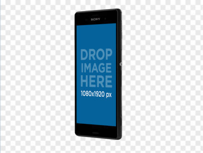 Angled Sony Xperia Z5 Mockup in Portrait Position Over a Transparent Background a11484