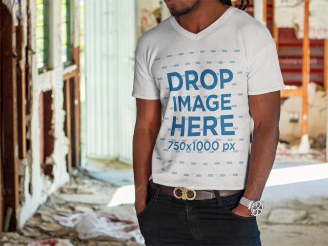 V-Neck T-Shirt Mockup Featuring a Young Black Man in a Construction Site a8748a