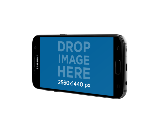 Samsung Galaxy S7 Mockup Angled in Horizontal Position a11502