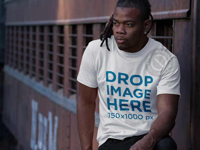 Mockup of a Round Neck Tee Featuring a Young Black Man a8770