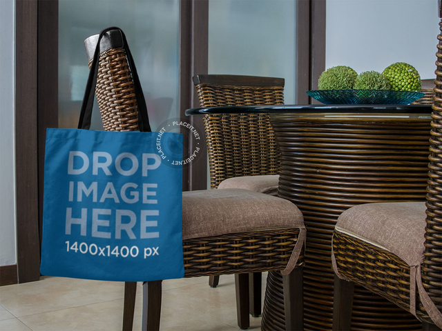 Shopping Tote Bag Mockup Hanging on a Chair a11503