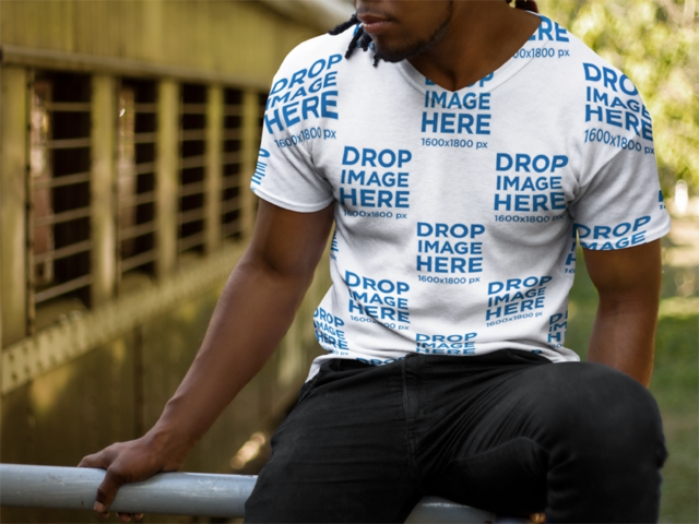 Mockup of a Young Black Man Wearing a V-Neck T Shirt a8749