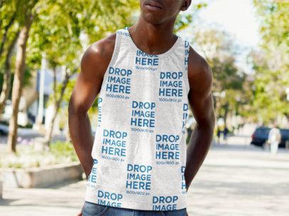 Sleeveless T Shirt Mockup of a Young Black Man a9200