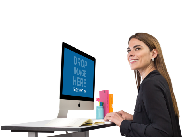 Smiling Business Woman Working on Her iMac Mockup