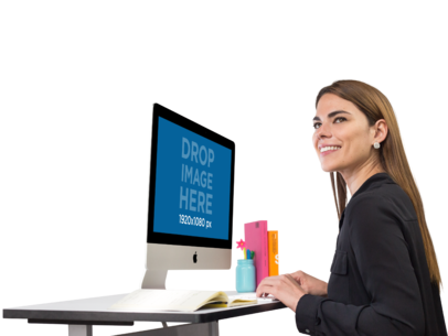 Smiling Business Woman Working on Her iMac Mockup a11509