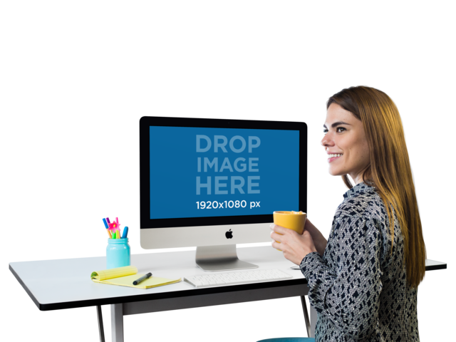 Mockup of a Woman Working on Her iMac While Drinking Coffee a11508