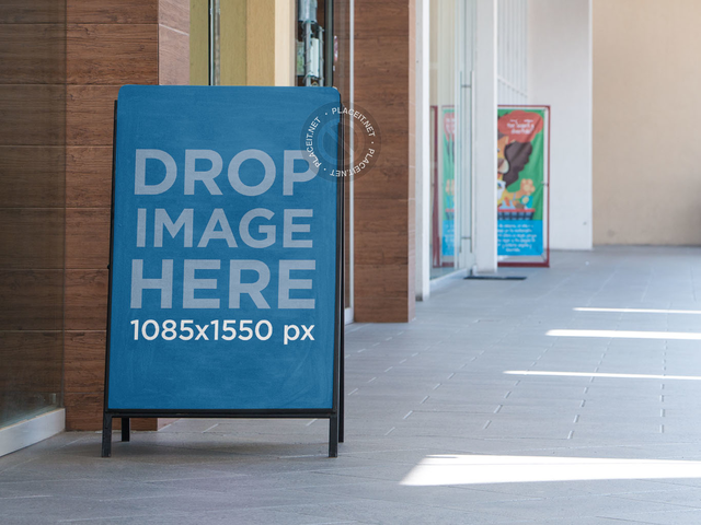 Vertical Frame Banner Mockup Outside a Store a11344