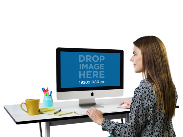 iMac Mockup of a Creative Professional With Transparent Background