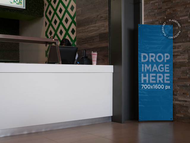 Banner Mockup at a Food Court Restaurant a11270