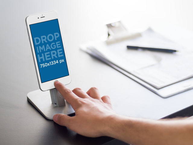 iPhone 6s Mockup Template at a Business Environment